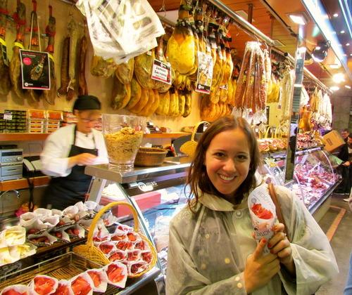 Corianna at La Boqueria in Barecelona, Spain